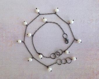 White Pearl Bracelet - Double Wrap Bracelet - Oxidized Sterling Silver Bracelet - Dangle Pearl Bracelet - Link Bracelet - Rustic Bracelet