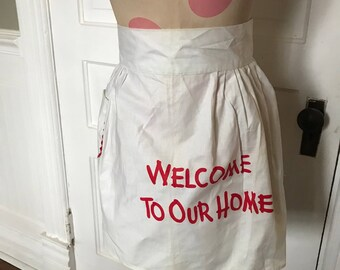 Vintage Ladies' White with Red Welcome To Our Home Half Apron (Rick Rack Trim)