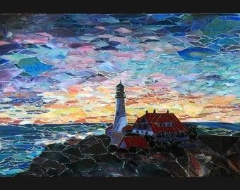 Sunrise at Portland Headlight Portland Cape Elizabeth Maine Lighthouse Stained Glass Mosaic