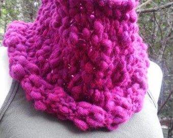 Berry Pink Knit Cowl in Chunky Textured Wool Blend READY TO SHIP