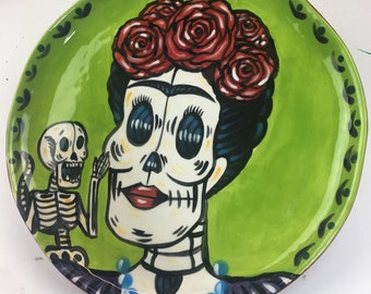 Fired Ceramic Muertos Frida with Monkey Plate