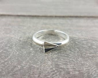 Silver Origami Paper Plane Ring,Origami Jewelry,First Anniversary Jewelry,First Anniversary Gift,Cute Ring,Teacher Gift,Paper Anniversary