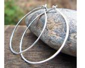 Sterling Silver Hoop Earrings, 1.25 inch, Sterling Silver Hoops, Hammered Hoops, Skinny Hoops, Argentium Sterling, Modern, Classic, Delicate