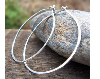 Sterling Silver Hoop Earrings, Sterling Silver Hoops, Hammered Hoops, Large Skinny Hoops, Argentium Sterling, Modern, Classic. 1.25 inch