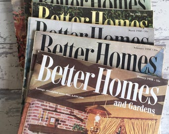 Vintage Magazines Better Homes and Gardens 1958 1959 Home Interior Garden Advertising Mid Century Modern Large Format