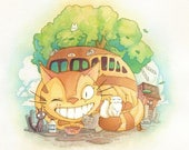 Catbus from Totoro Studio Ghibli Watercolor Print