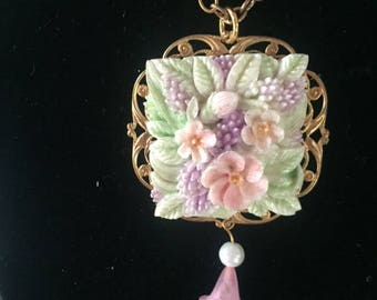 Hand Painted Pastel Flower Necklace