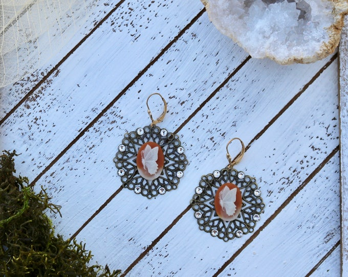 Bronze Filigree and Butterfly Cameo earrings