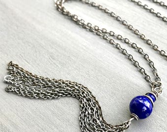Long Lapis Tassel Necklace, Silver Chain Tassel Necklace, Layered and Long, Lapis Jewelry, Boho Layering, Bohemian Tassel Jewelry