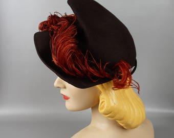 Vintage 1940s Tilt Hat Brown Felt Asymmetrical Brim with Rust Ostrich Feathers NY Creations Sz 21