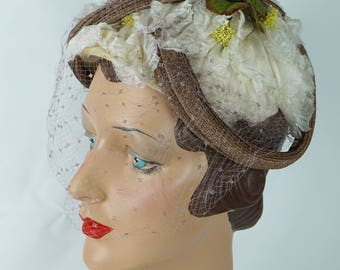 1950s Vintage Hat Structured Floral English Half Hat by Otto Lucas Original Hatbox