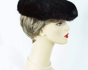 1950s Vintage Hat Dark Brown Mink Cocktail Beret by Christine