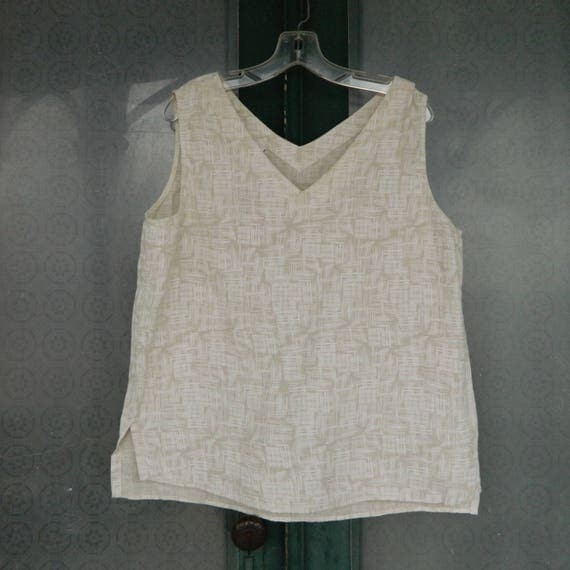 Click Color Me Cotton V-Neck Tank -XL- Natural Grid Linen NWT