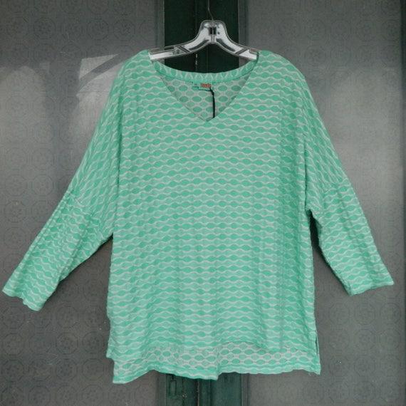 Tianello Slouchy 3/4 Sleeve V-Neck Tunic Yaz Top -XL- Aqua/White Geometric Poly/Rayon/Spandex NWT