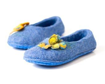Blue fairy girl slippers with butterflies, Children wool slippers, Toddler slippers Kids winter slippers, Handmade felted slippers for girls