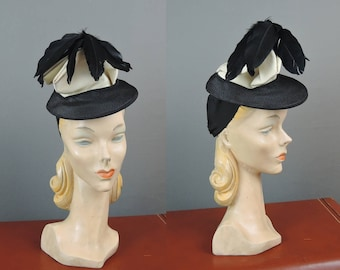 Vintage 1940s Hat Tilt Topper Hat, Black Straw & Ivory Faille with Feathers