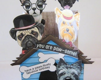 Paw some Birthday Card - Cascading Card - Handmade Card - Dimensional - Dogs