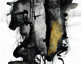 Abstract painting A4, 12x8in -  black and yellow paint 3