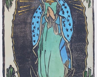 woodblock print Our Lady of Guadalupe / Virgin Guadalupe artwork / original art prints / woodcut prints / mother and child / monoprints