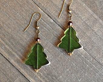 Green Christmas Tree Earrings, Stained Glass Tree, Christmas Tree Earrings, Holiday Tree Earrings, Gifts for Her, Seasonal Trees Green Glass