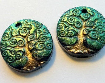 Tree Beads Yggdrasil Beads Trees of Life Polymer Clay Focal Beads