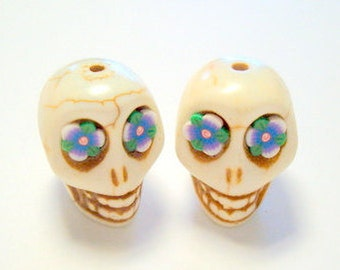 Purple Rose Eyes Ivory Howlite Sugar Skull Beads 18mm
