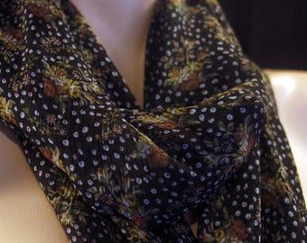 Purple/black satin flowers chiffon shawl. Square scarf