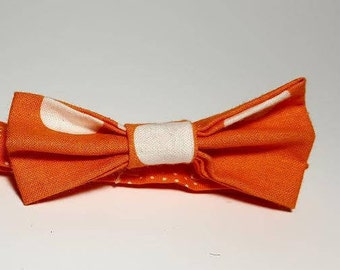 Orange and White Polka Dot Boys' Bow Tie