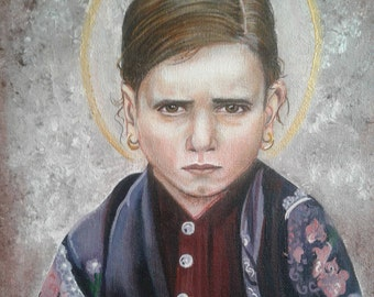 "St. Jacinta Marto 11""x14"" Original on Canvas, Visionary of Our Lady of Fatima Queen of the Holy Rosary Acrylic Painting,Catholic Art, signed"