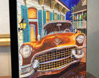 "Cadillac Art 1955 Cadillac ""French Quarter Caddy""  8x10x1.5"" and 11x14x1.5"" Gallery Wrap Canvas Print"