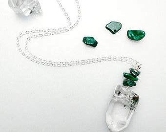Phantom Quartz & Malachite Necklace
