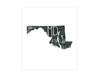 Maryland State Print // 1canoe2 // Modern Art Print
