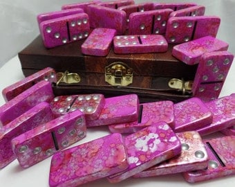 Dominoes 'Tutti Frutti' Hand Painted 28 Piece Standard Size Double Six Domino Set in Leather-look Briefcase, pink, alcohol ink, instructions