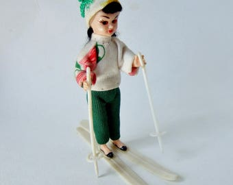 Kitsch French Skiing Doll- 1960s Vintage Souvenir Doll in Chic Alpine Sports Outfit