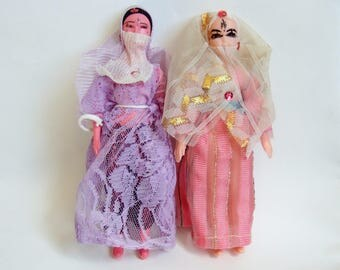 Two Unusual Egyptian Vintage Dolls -  Slightly Odd-Looking Souvenir Dolls of Arabic Women
