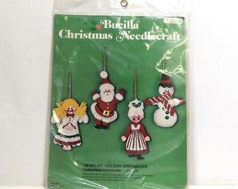 Vintage Bucilla Needlecraft Kit 2339/ Christmas Foursome Jeweled Holiday Felt Ornaments Unopened