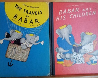 Vintage Babar Hardcover Books * Babar and His Children * The Travels of Babar * 60's * Jean De Brunhoff