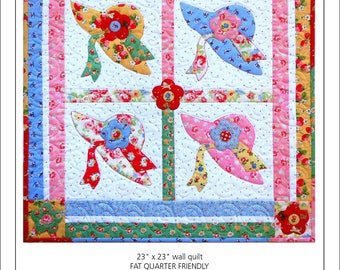 More Than One Hat Wall Quilt Pattern, Hat Applique Pattern