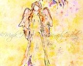Angel Art, Angel Print, Watercolor Print, Watercolor Painting, Angel Painting, Art Print, Religious Art, Spiritual Art, Hawk Art