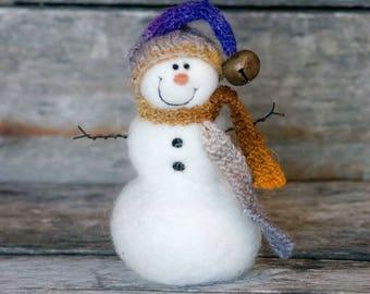 Needle Felt Snowman - Needle Felted Snowman - Christmas Snowman - Christmas Decoration - Christmas Decor -  Wool Snowman - Winter Décor -858