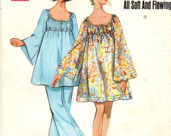 1960s Butterick 5225 Vintage Sewing Pattern Misses Dress, Angel Dress, Tent Dress, One Piece Dress, Bell Bottom Pants Size 12 Bust 34