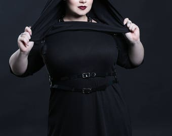 Tunic Dress with Hood - Knit Top with Cowl- Punk Grunge Rock - Petite to Plussize - Custom To Order XXS- 5XL