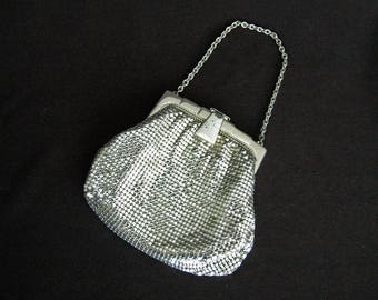 WHITING & DAVIS Dainty Vintage Silver Mesh Bag with Chain Handle