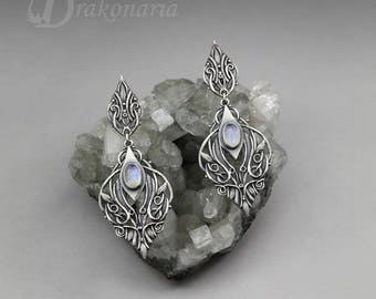 Elven earrings, Sindarin - Narn, sterling silver with labradorites, art nouveau, moonstone earrings, silver leaves, limited collection