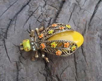 Vintage Art Bug Insect Pin Enamel Flowers Wings Seed Pearls Rhinestone Eyes