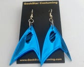 Star Trek Inspired Science Officer Sci Fi Earrings, Blue Geek Vulcan Accessory, Into Darkness Spock. Comicon Cosplay Jewelry, SDCC ECCC