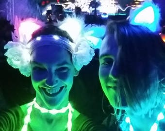 Custom Remote Controlled Cat Ears, Fluffy Light Up LED Costume Cat Ears, Glow in the Dark Handmade Ravewear Cosplay Burning Man EDC Outfit