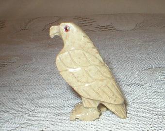 Miniature Stone Carved Eagle Bird Statue Sculpture Figurine Vintage
