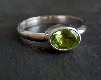 Peridot ring / silver and peridot ring / peridot jewelry / apple green / August birthstone / custom peridot / ready to ship / gift for her