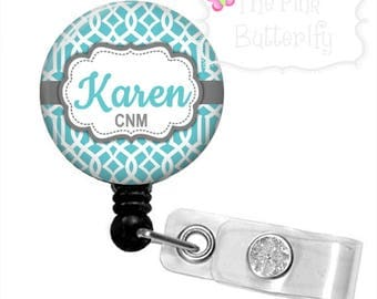 Blue Trellis Retractable Badge Reel-personalized